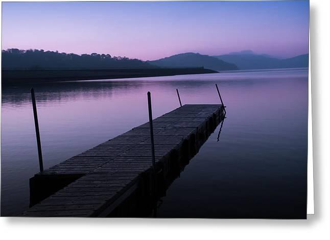 Boats At Dock Greeting Cards - Dock at Dawn Greeting Card by Davidmark Images