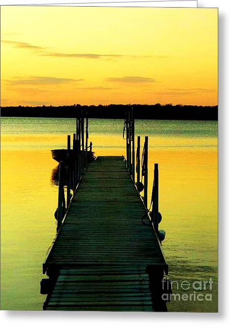 Boats At Dock Greeting Cards - Dock at Dawn Greeting Card by Desiree Paquette