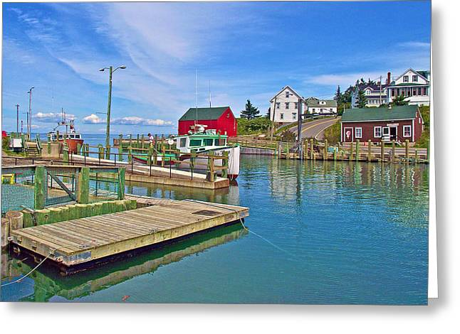 Dock At High Tide In Halls Harbour-ns Greeting Card by Ruth Hager