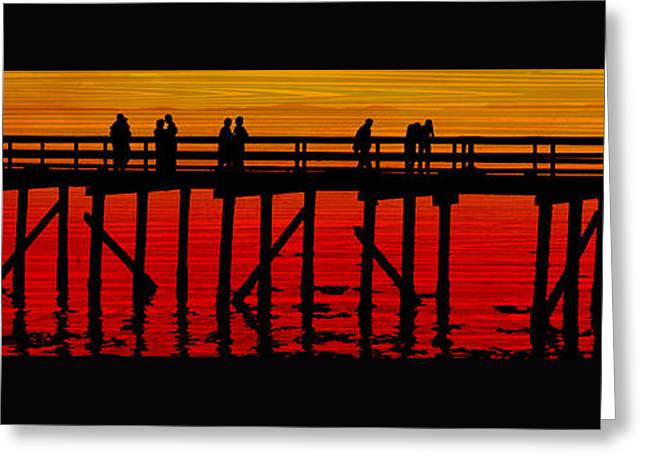 Tangerine Greeting Cards - Dock at Sunset Greeting Card by Richard Farrington