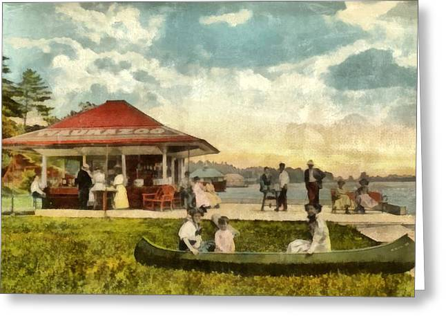 Old West Postcards Greeting Cards - Dock at Waukazoo Holland Michigan Greeting Card by Michelle Calkins