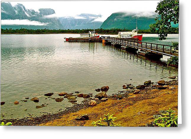Pond In Park Greeting Cards - Dock at Western Brook Pond in Gros Morne NP-NL Greeting Card by Ruth Hager