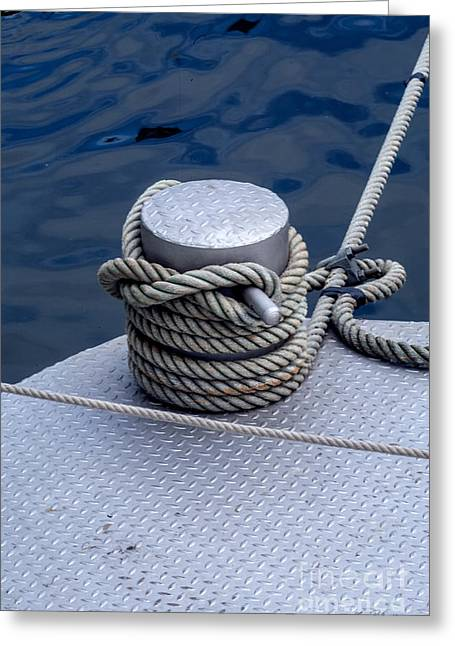 Bollard Greeting Cards - Dock Bollard with Grey Boat Rope Greeting Card by Iris Richardson