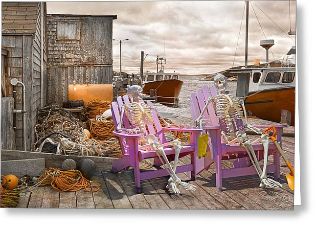 Shack Greeting Cards - Dock Buddies Greeting Card by Betsy C  Knapp