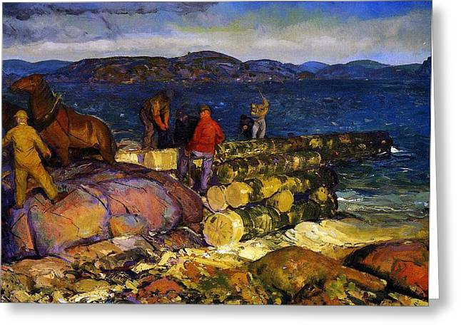 Constructed Greeting Cards - Dock Builders Greeting Card by George Wesley Bellows