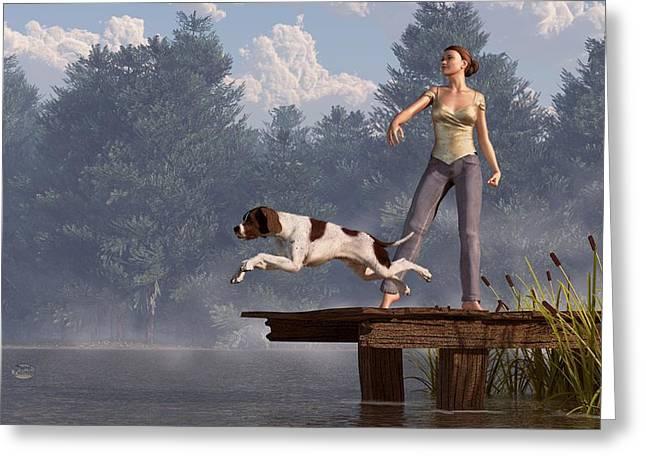 Playing Digital Greeting Cards - Dock Dog Greeting Card by Daniel Eskridge