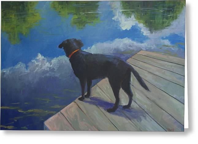 Recently Sold -  - Reflection In Water Greeting Cards - Dock Dog Greeting Card by Elaine Hurst