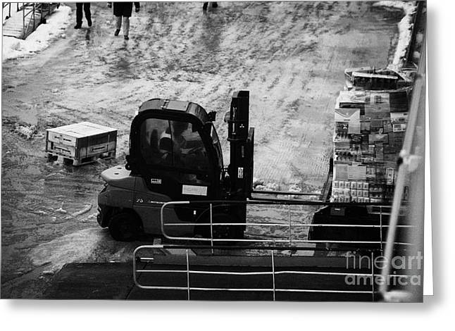 Coastal Route Greeting Cards - Dock Forklift Truck Unloading Deliveries From Hurtigruten Coastal Ferry Havoysund Finnmark Norway Eu Greeting Card by Joe Fox