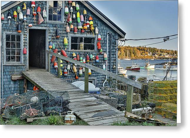 Docked Boats Greeting Cards - Dock House in Maine Greeting Card by Jon Glaser