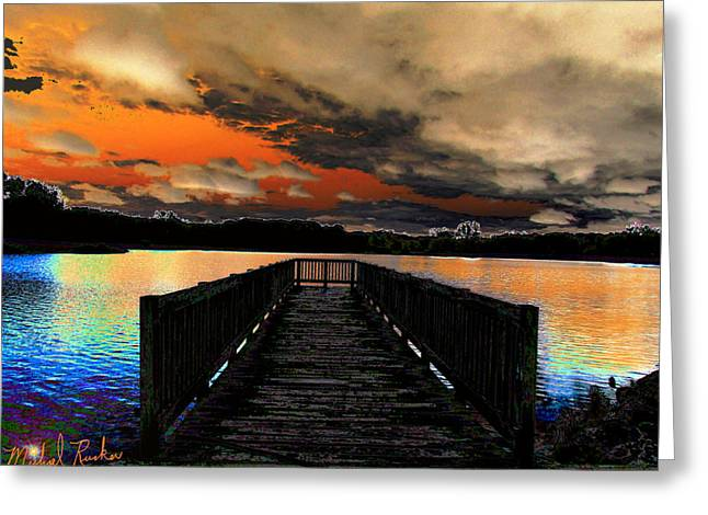 Beach At Night Digital Art Greeting Cards - Dock in the Park Greeting Card by Michael Rucker