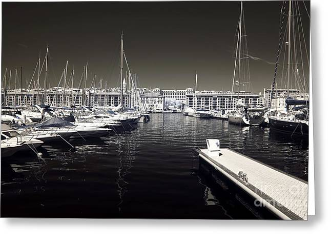 Docked Sailboats Photographs Greeting Cards - Dock in the Port Greeting Card by John Rizzuto