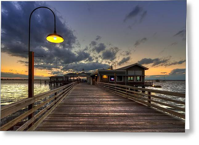 Nighttime Greeting Cards - Dock lights at Jekyll Island Greeting Card by Debra and Dave Vanderlaan
