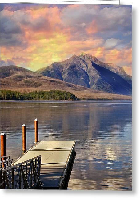 Lake Mcdonald Greeting Cards - Dock on Lake McDonald Greeting Card by Marty Koch