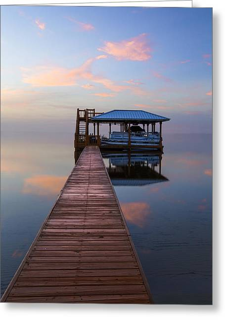 Canoe Photographs Greeting Cards - Dock on the Lake Greeting Card by Debra and Dave Vanderlaan
