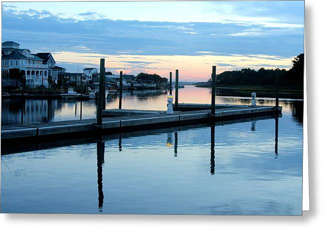 Surf City Greeting Cards - Dock Reflections Greeting Card by Rand Wall