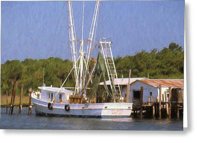 Docked Boats Mixed Media Greeting Cards - Dock Side Greeting Card by Richard Rizzo