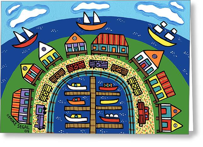 Best Sellers -  - Cedar Key Greeting Cards - Dock Street-Cedar Key Greeting Card by Mike Segal