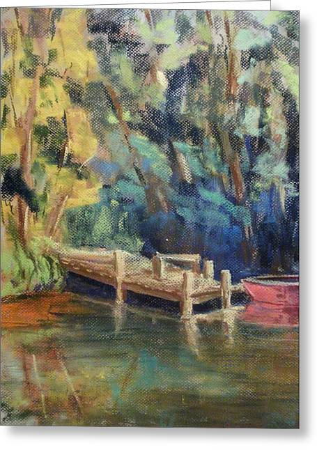Canoe Pastels Greeting Cards - Dock  Greeting Card by Tim  Swagerle