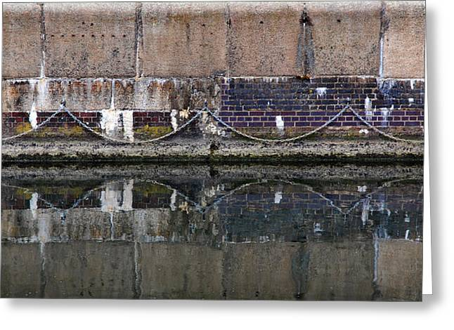 Ocean. Reflection Greeting Cards - Dock Wall Greeting Card by Mark Rogan