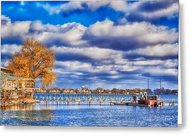 Dock Workers Greeting Card by Ian Van Schepen