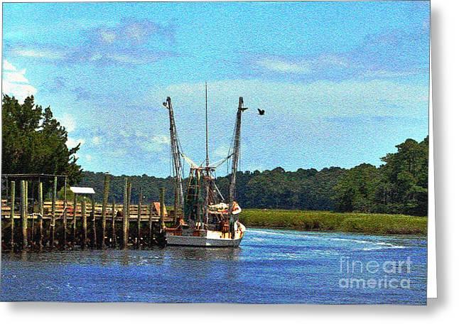 Boats At Dock Greeting Cards - Docked at Calabash 4 Greeting Card by Lydia Holly