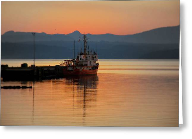 Ocean Landscape Greeting Cards - Docked At Dusk Greeting Card by Micki Findlay