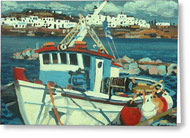 Boats At Dock Greeting Cards - Docked Greeting Card by Brian Simons