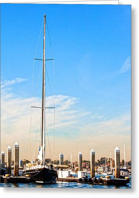 Sailboats Docked Greeting Cards - Docked Greeting Card by Chris Brannen
