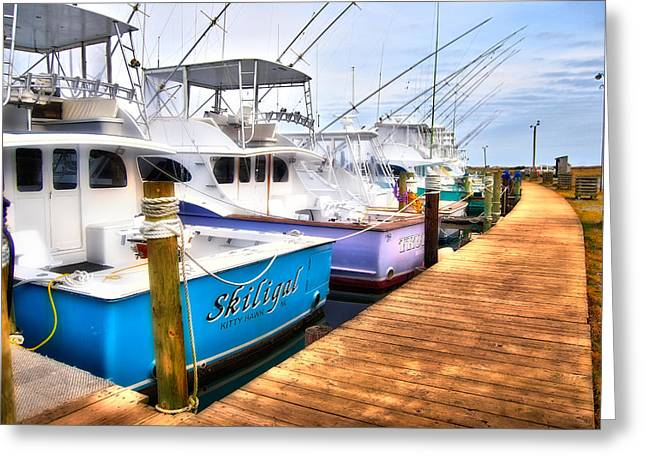 Oregon Artist Greeting Cards - Docked Fishing Boats - Outer Banks Greeting Card by Dan Carmichael