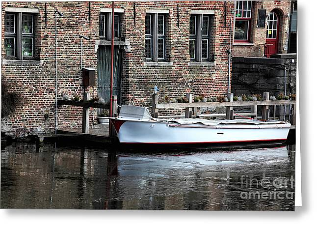 Boats In Water Greeting Cards - Docked in Bruges Greeting Card by John Rizzuto