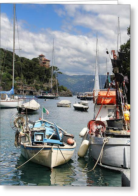 Sailboat Photos Greeting Cards - Docked in Portofino Greeting Card by Nancy Ingersoll