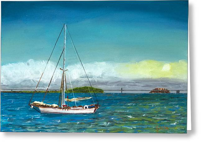 San Francisco Bay Pastels Greeting Cards - Docked In the Bay Greeting Card by Lawrence Golla