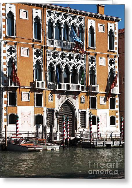 Boats In Water Greeting Cards - Docked in Venice Greeting Card by John Rizzuto