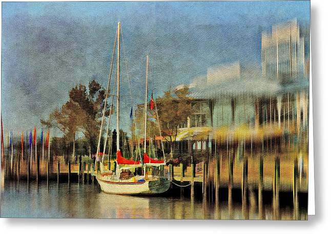 Sailboats Docked Greeting Cards - Docked Greeting Card by Kathy Jennings