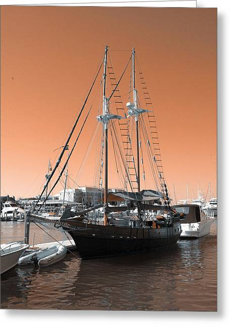 Sailboat Art Greeting Cards - Docked Sailboat Greeting Card by Kevin Cable