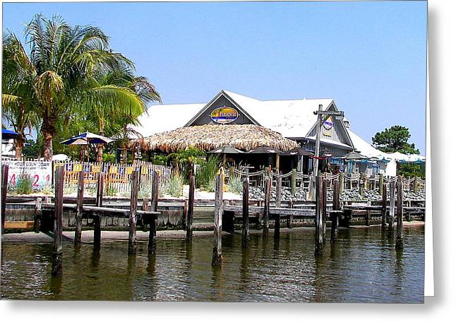 Longneck Greeting Cards - Docking At Paradise Grill Greeting Card by Pamela Hyde Wilson