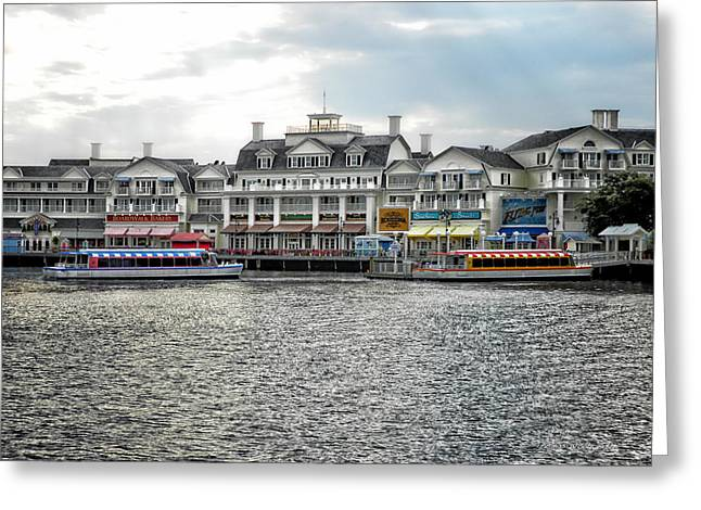 Town Square Greeting Cards - Docking At The Boardwalk Walt Disney World Greeting Card by Thomas Woolworth