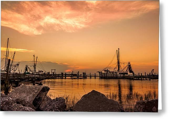Jacksonville Pyrography Greeting Cards - Docks Amelia Island  Greeting Card by Alex Heath