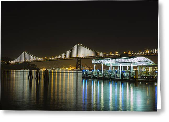 Bay Bridge Greeting Cards - Docks and Bay Lights Greeting Card by Bryant Coffey