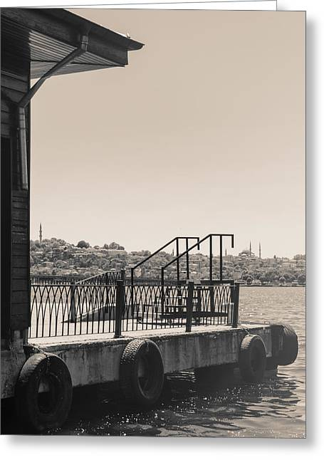 Istanbul Mixed Media Greeting Cards - Docks And Sea Greeting Card by Mustafa Otyakmaz