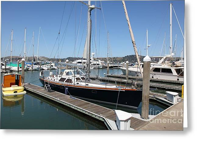 Sailboats In Harbor Photographs Greeting Cards - Docks at Sausalito California 5D22688 Greeting Card by Wingsdomain Art and Photography
