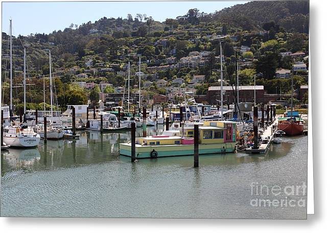 Sailboats In Harbor Photographs Greeting Cards - Docks at Sausalito California 5D22697 Greeting Card by Wingsdomain Art and Photography