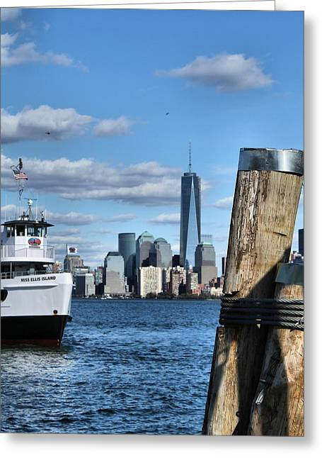Rip Tide Greeting Cards - Docks In New York City Greeting Card by Dan Sproul