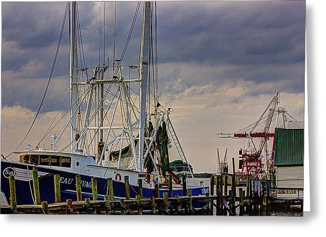 Boats At Dock Greeting Cards - Dockside Greeting Card by Barry Jones