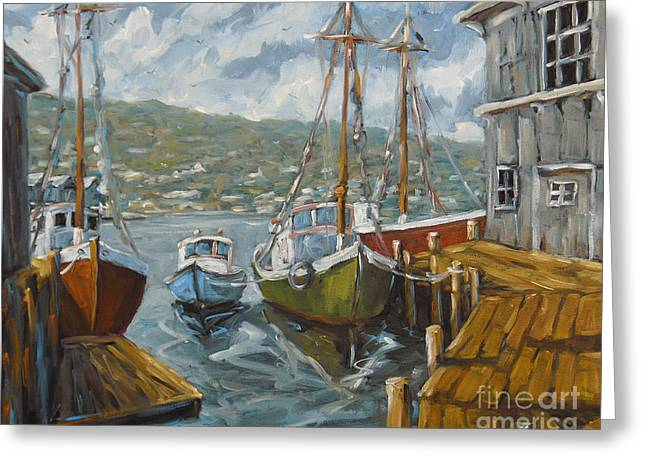 Exposure Paintings Greeting Cards - Dockside Boats by Prankearts Greeting Card by Richard T Pranke