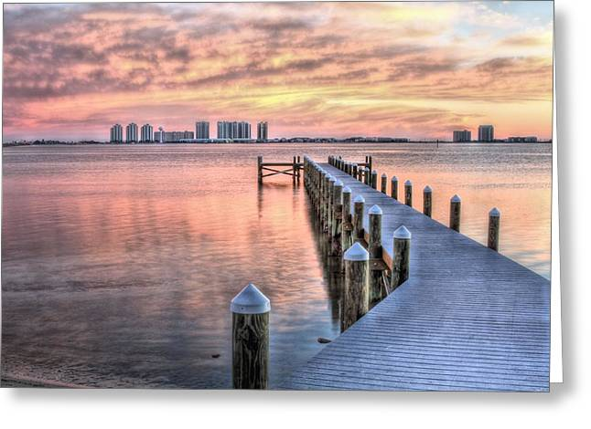 Dockside In Navarre Greeting Card by JC Findley