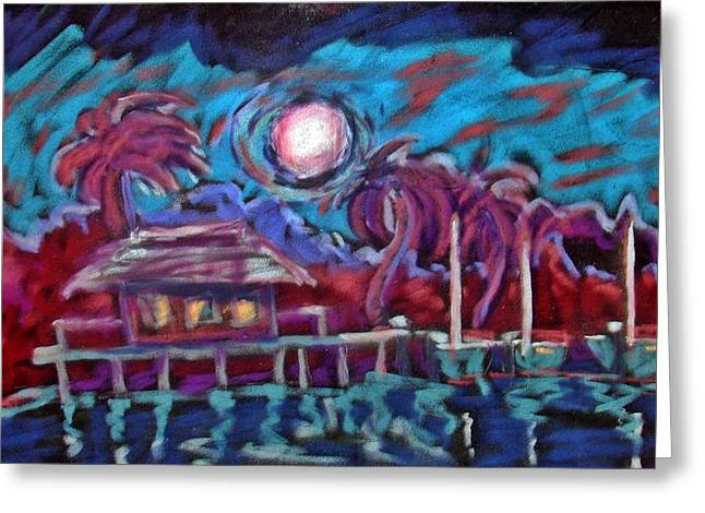 Seacape Pastels Greeting Cards - Dockside Moonlight Greeting Card by Joseph Hawkins
