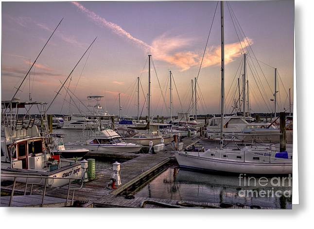 Sailboats In Harbor Greeting Cards - Dockside Sunset in Beaufort South Carolina Greeting Card by Reid Callaway