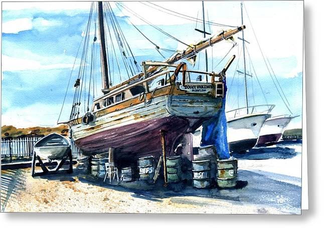 Aquarel Greeting Cards - Dockyard in San Juan Greeting Card by Ivo Depauw
