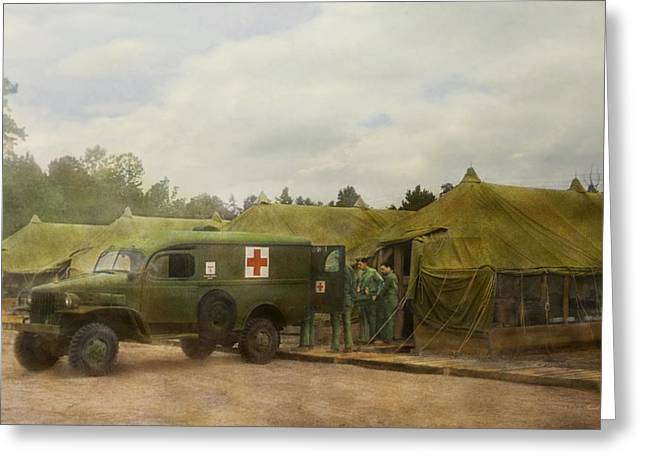 Transfer Greeting Cards - Doctor - 1942 - Camp Sibert - Transferring the patient Greeting Card by Mike Savad